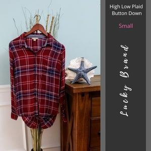Lucky Brand | High Low Plaid Button Down